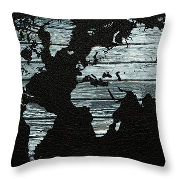 World Map Distressed Wood Beams On Leather Throw Pillow