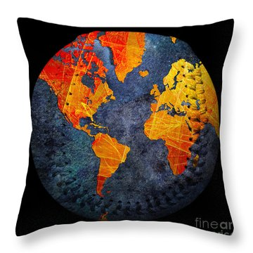 World Map - Elegance Of The Sun Baseball Square Throw Pillow by Andee Design