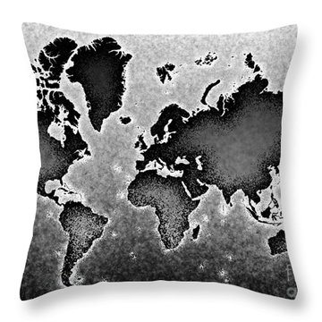 World Map Novo In Black And White Throw Pillow