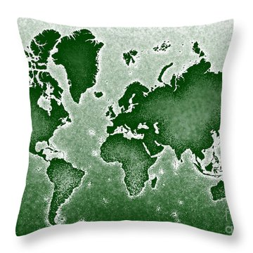World Map Novo In Green Throw Pillow by Eleven Corners