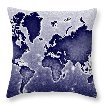 World Map Novo In Blue Throw Pillow by Eleven Corners