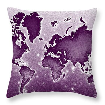 World Map Novo In Purple Throw Pillow by Eleven Corners