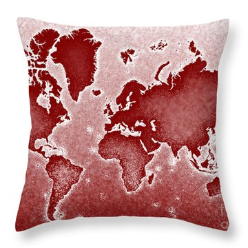 World Map Novo In Red Throw Pillow by Eleven Corners