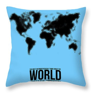 World Map Poster Throw Pillow by Naxart Studio