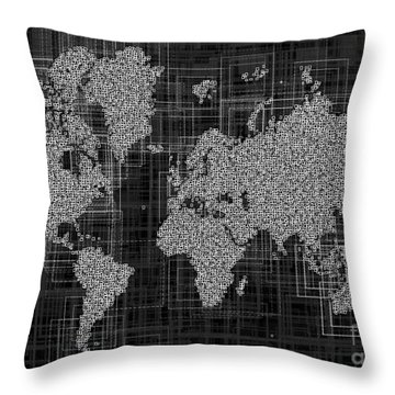 World Map Rettangoli In Black And White Throw Pillow by Eleven Corners
