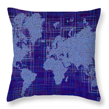World Map Rettangoli In Blue And White Throw Pillow by Eleven Corners