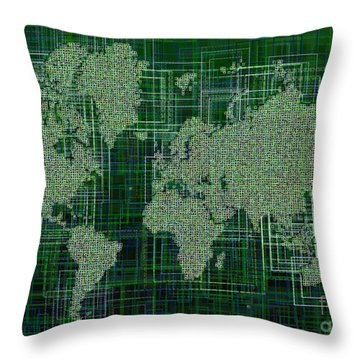 World Map Rettangoli In Green And White Throw Pillow by Eleven Corners