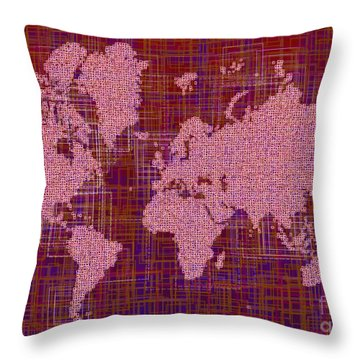 World Map Rettangoli In Pink Red And Purple Throw Pillow by Eleven Corners