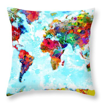 World Map Spattered Paint Throw Pillow