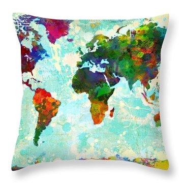 World Map Splatter Design Throw Pillow