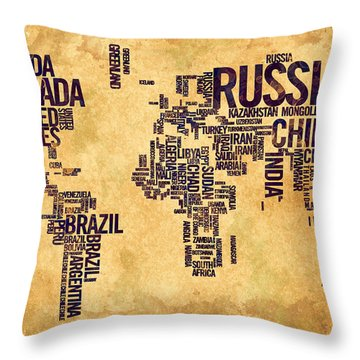 World Map Typography 6 Watercolor Painting Throw Pillow