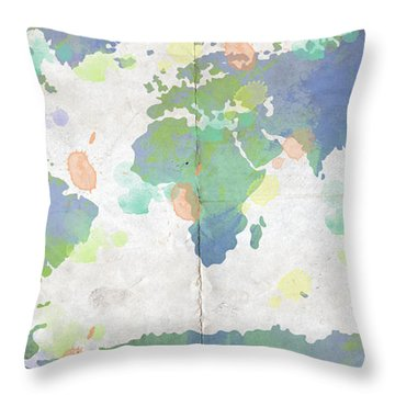 World Map Watercolor 4 Throw Pillow by Paulette B Wright