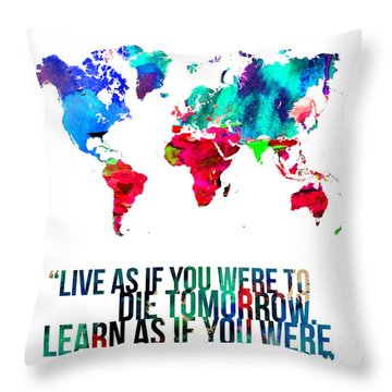 World Map With A Quote Throw Pillow by Naxart Studio