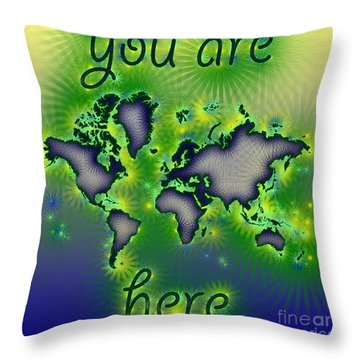 World Map You Are Here Amuza In Blue Yellow And Green Throw Pillow by Eleven Corners