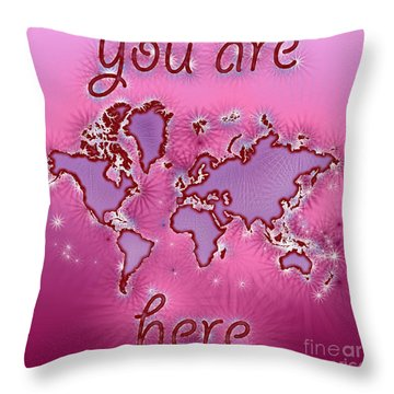 World Map You Are Here Amuza In Purple And Pink Throw Pillow by Eleven Corners