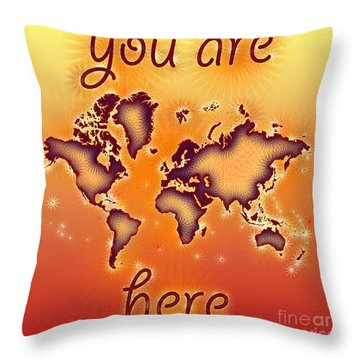 World Map You Are Here Amuza In Red Yellow And Orange Throw Pillow by Eleven Corners