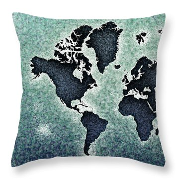 World Map You Are Here Novo In Black And Blue Throw Pillow