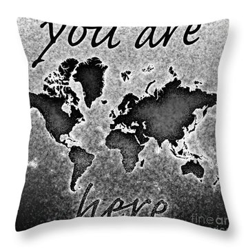 World Map You Are Here Novo In Black And White Throw Pillow