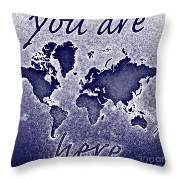 World Map You Are Here Novo In Blue Throw Pillow by Eleven Corners