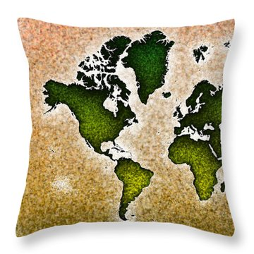 World Map You Are Here Novo In Green And Orange Throw Pillow