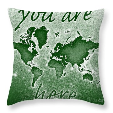 World Map You Are Here Novo In Green Throw Pillow