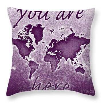 World Map You Are Here Novo In Purple Throw Pillow