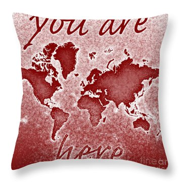 World Map You Are Here Novo In Red Throw Pillow by Eleven Corners