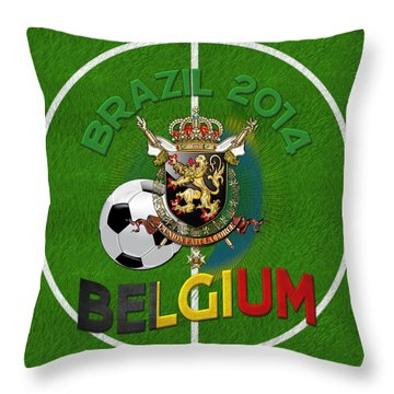 World Of Soccer 2014 - Belgium Throw Pillow by Serge Averbukh
