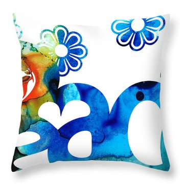World Peace 3 - Loving Art Throw Pillow by Sharon Cummings