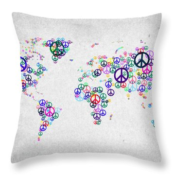 World Peace Map Throw Pillow