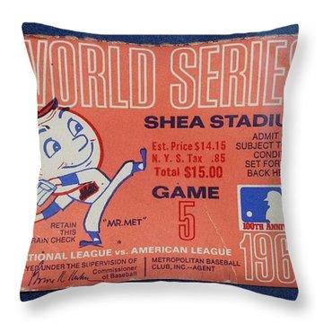 World Series Ticket Shea Stadium 1969 Throw Pillow by Melinda Saminski