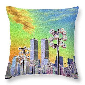 World Trade Center From Nj Terminal Throw Pillow