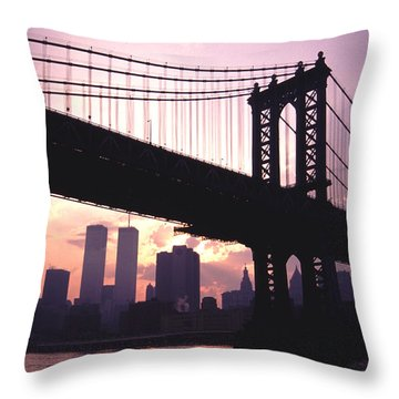 Throw Pillow featuring the photograph World Trade Towers Manhattan Bridge At Sunset Nyc by Tom Wurl