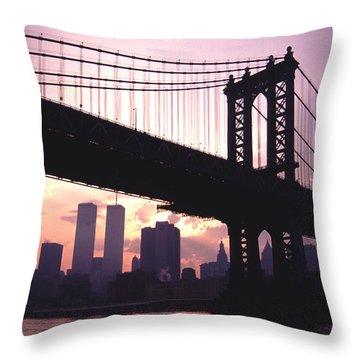 World Trade Towers Manhattan Bridge At Sunset Nyc Throw Pillow