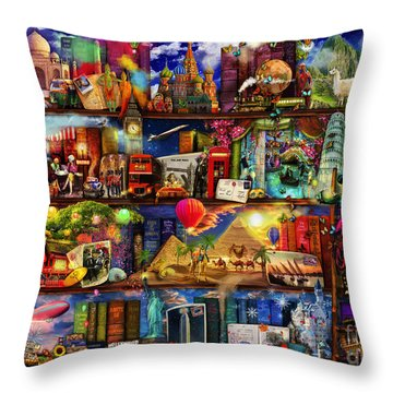 World Travel Book Shelf Throw Pillow by Aimee Stewart