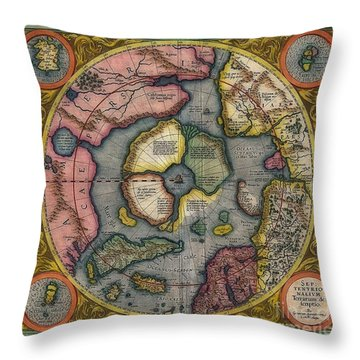 World Vintage Map Sepitentrio Nalivm Terrarum De Feriptio Throw Pillow by Inspired Nature Photography Fine Art Photography