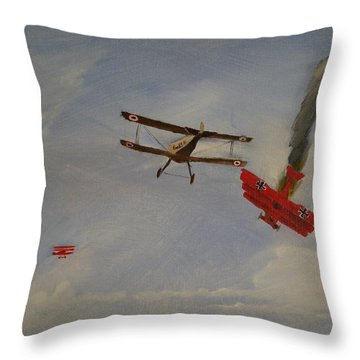 World War I Dogfight 3 Planes In Battle Throw Pillow by Carl S Kralich