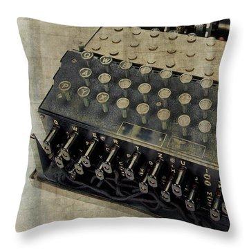 Throw Pillow featuring the photograph World War II Enigma Secret Code Machine by Edward Fielding