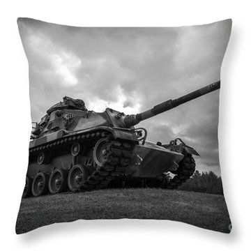 World War II Tank Black And White Throw Pillow