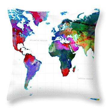World Watercolor Map #3 Throw Pillow