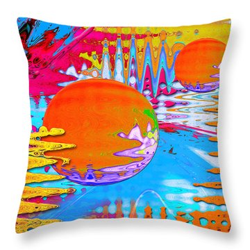Throw Pillow featuring the mixed media Worlds Apart by Carl Hunter