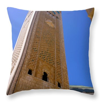 Throw Pillow featuring the photograph Worlds Tallest Minaret At 210m Hassan II Mosque Grand Mosque Sour Jdid Casablanca Morocco by Ralph A  Ledergerber-Photography