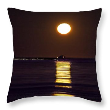 Worm Moon Rising Throw Pillow