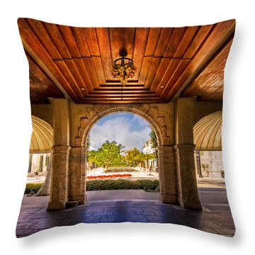 Worth Avenue Courtyard Throw Pillow by Debra and Dave Vanderlaan