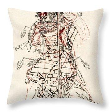 Wounded Samurai Drinking Sake C. 1870 Throw Pillow by Daniel Hagerman