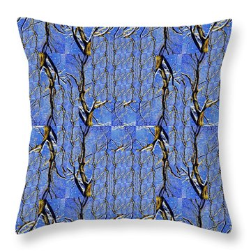 Woven Tree In Blue And Gold Throw Pillow