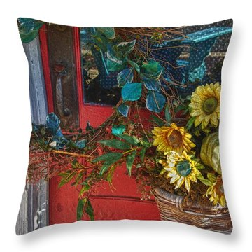 Wreath And The Red Door Throw Pillow by Michael Thomas