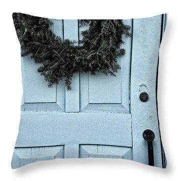 Wreath On Old Blue Door Throw Pillow by Birgit Tyrrell