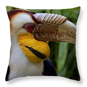 Wreathed Hornbill Throw Pillow by Eric Albright