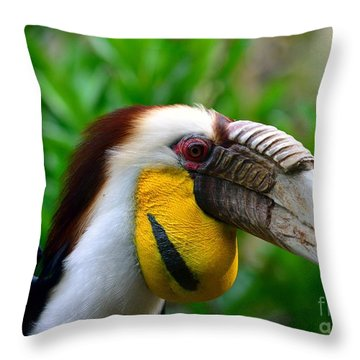 Throw Pillow featuring the photograph Wreathed Hornbill by Lisa L Silva